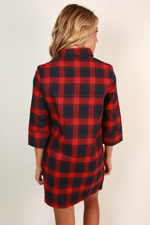 Count Me In Plaid Dress in Red