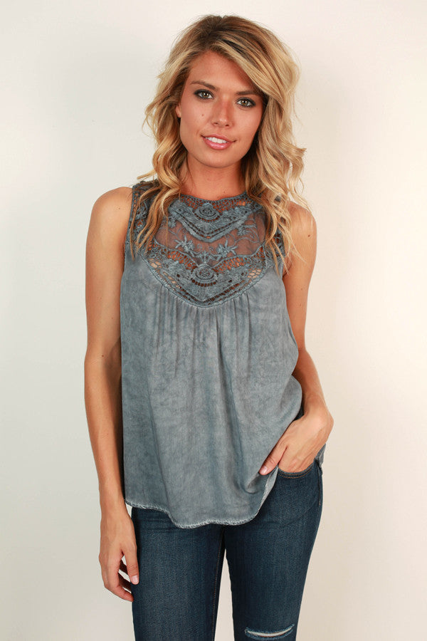 Southern Romance Shift Tank in Slate