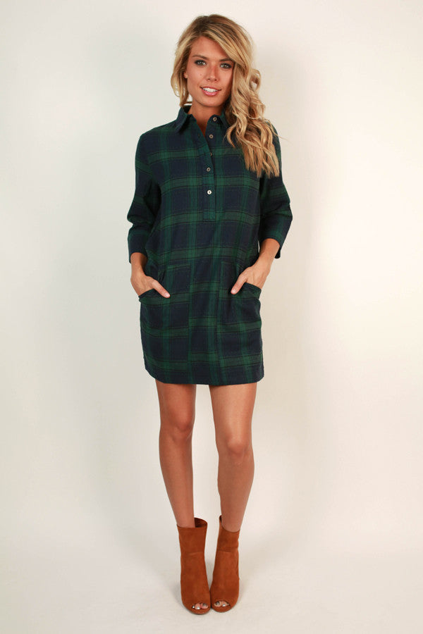 Count Me In Plaid Dress in Lush Meadow