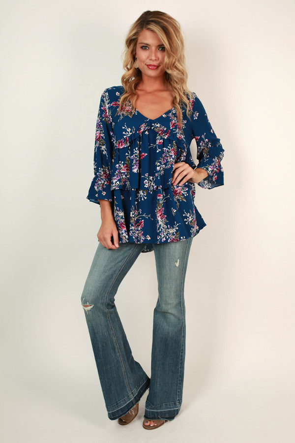 Southern Sangria Babydoll Top in Blue