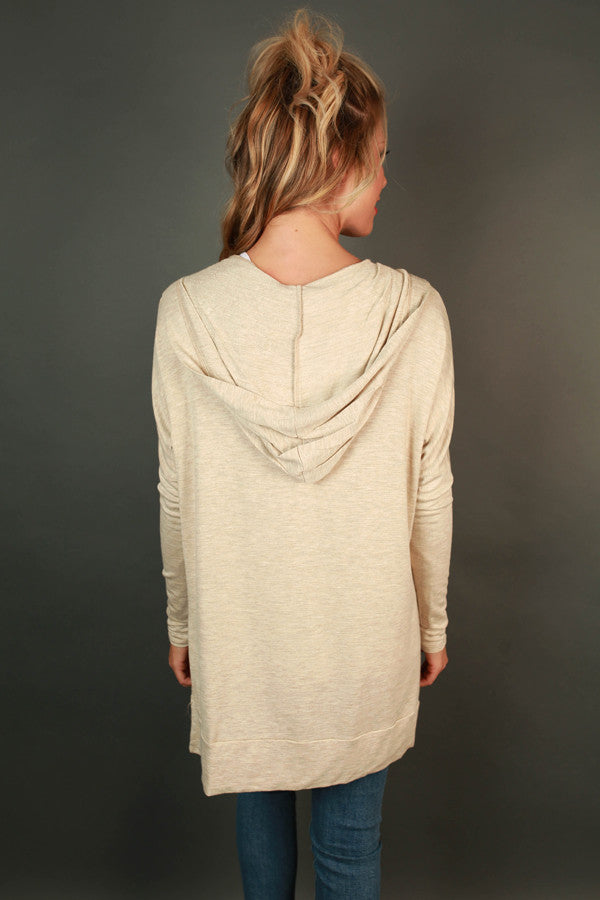 Chill Time Tunic Hoodie in Cream