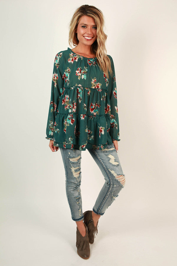 Charleston Floral Top in Lush Meadow