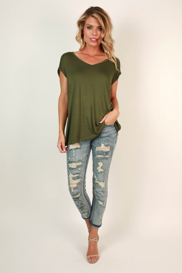 Always The Favorite Shift Tee in Army Green