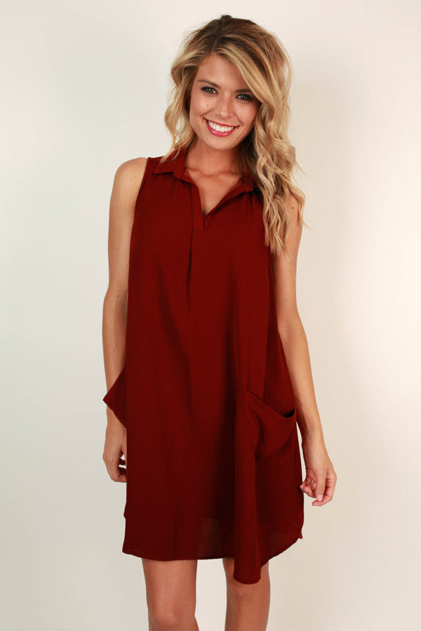 A Dockside Memory Shift Dress in Scarlet