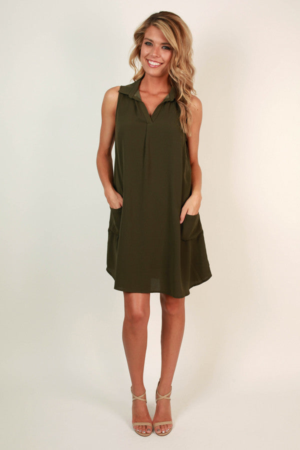 A Dockside Memory Shift Dress in Army Green