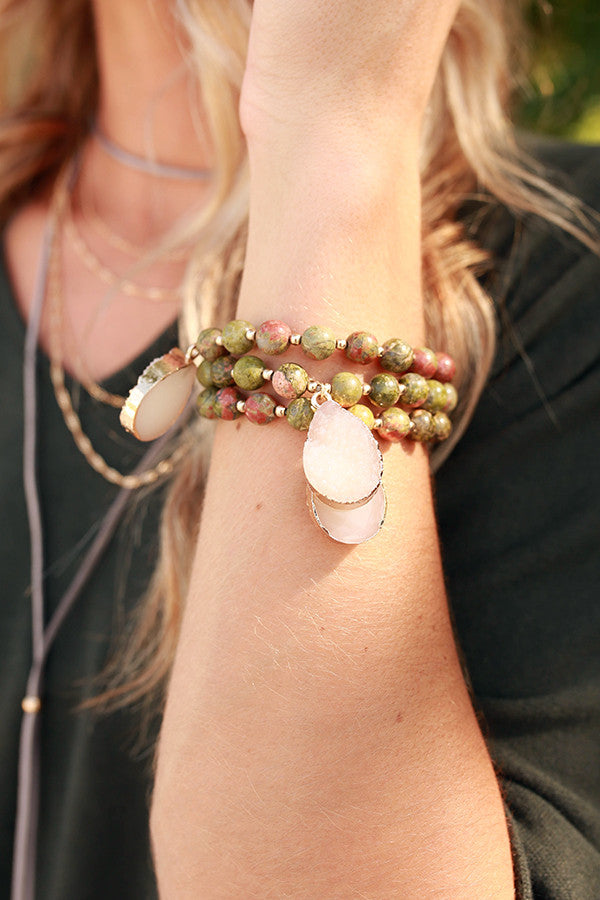 All Smiles Stone Bracelet in Sage