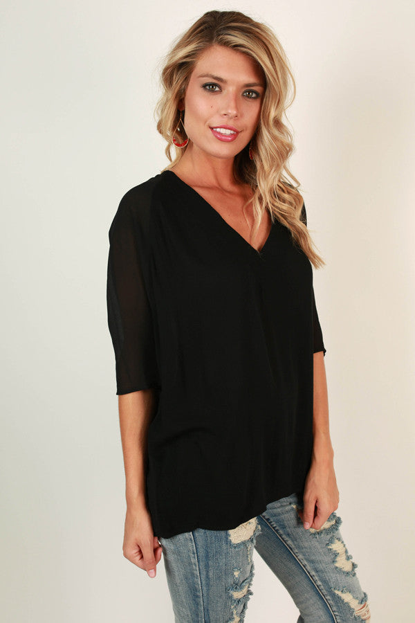 Enjoying The Journey V-Neck Top in Black