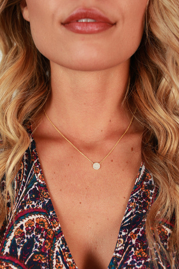 Perfection in Pave Necklace in Gold