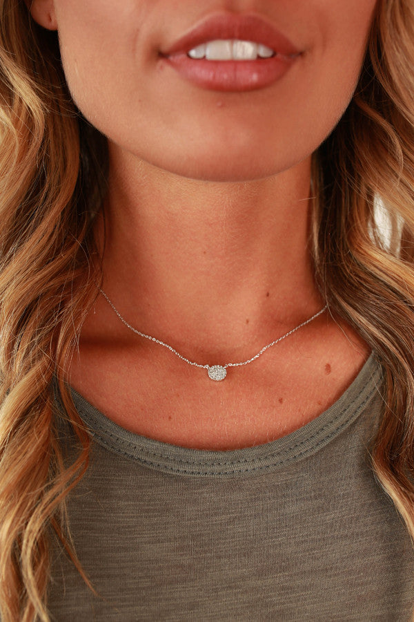 Perfection in Pave Necklace in Silver