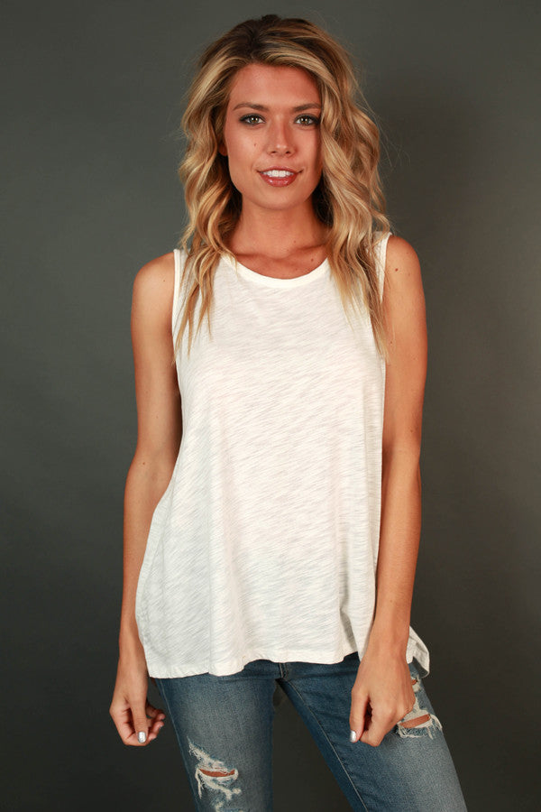 Blissful & Beautiful Shift Tank in White