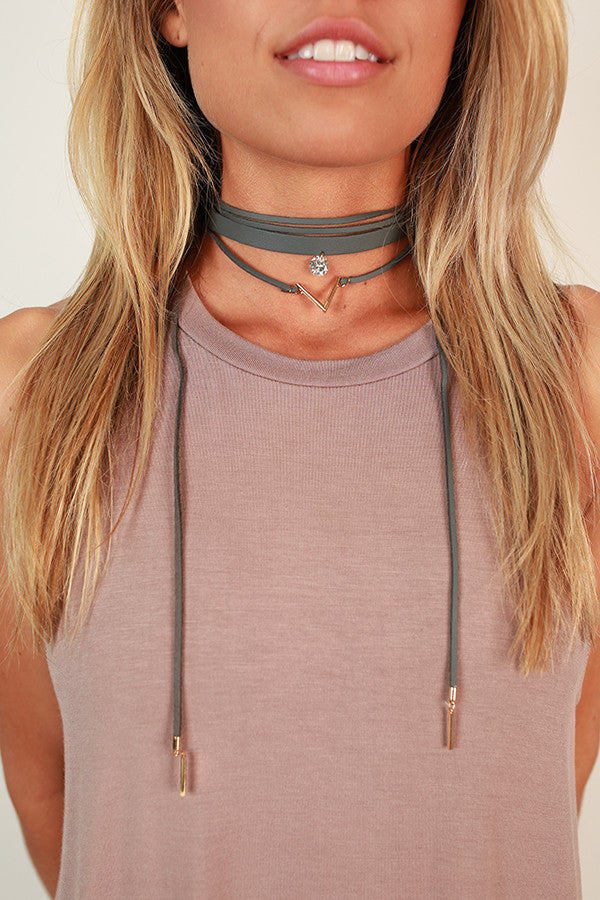 What a Gem Layered Choker Necklace in Fog