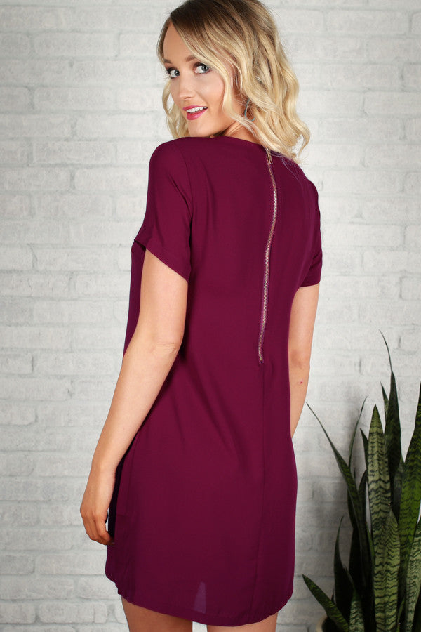Hollywood Hills Shift Dress in Vineyard Grape