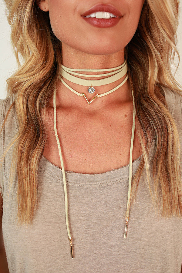 What a Gem Layered Choker Necklace in Stone