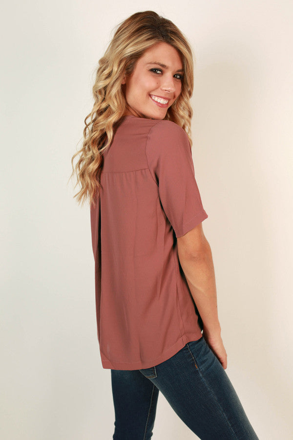 After The Runway Shift Top in Rustic Rose