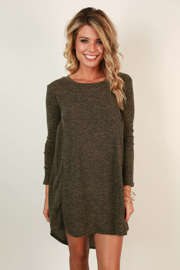 America's Sweetheart Sweater Dress in Army Green