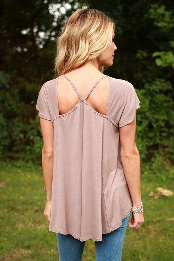 Criss-Cross My Heart Shift Tee in Taupe