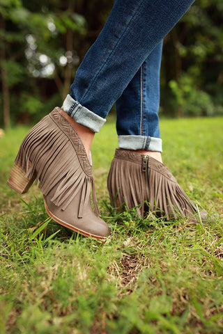 World Tour Fringe Bootie in Smoky Taupe