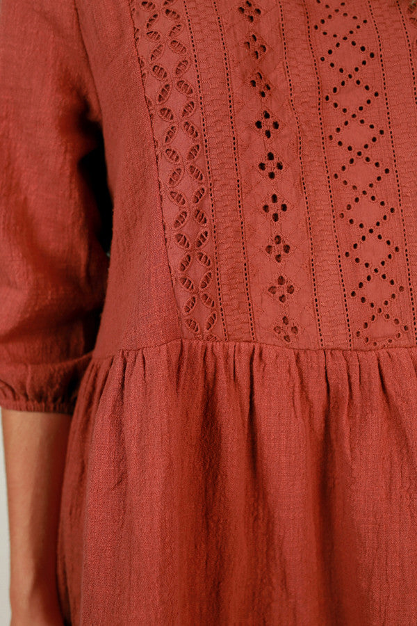 Boho Divine Shift Dress in Aurora Red
