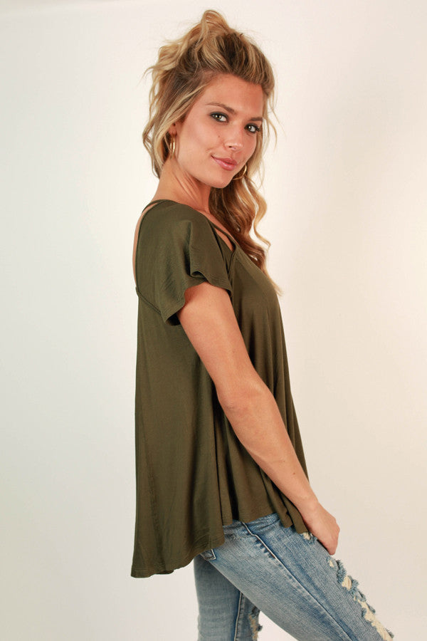 Criss-Cross My Heart Shift Tee in Army Green
