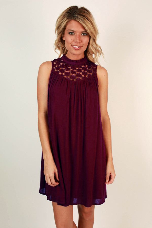 Lean On Me Crochet Shift Dress in Wine