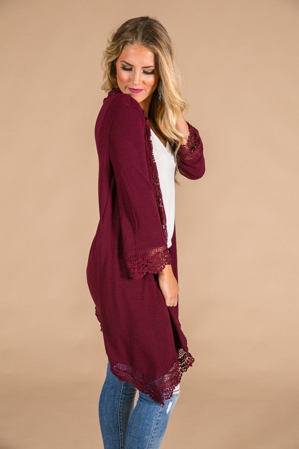 Life and Laughter Crochet Trim Cardigan in Wine