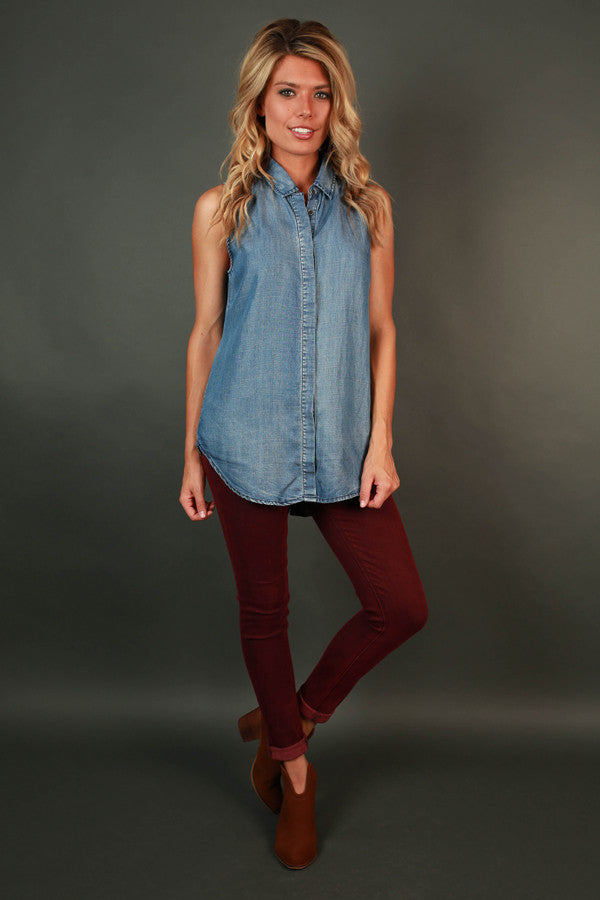 Going Places Chambray Tank