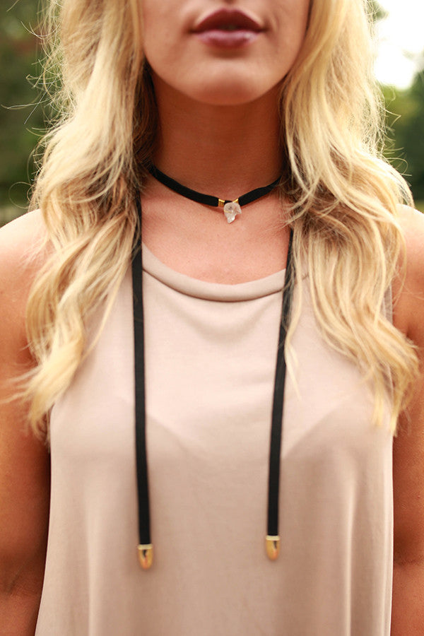 String You Along Choker Necklace in Black