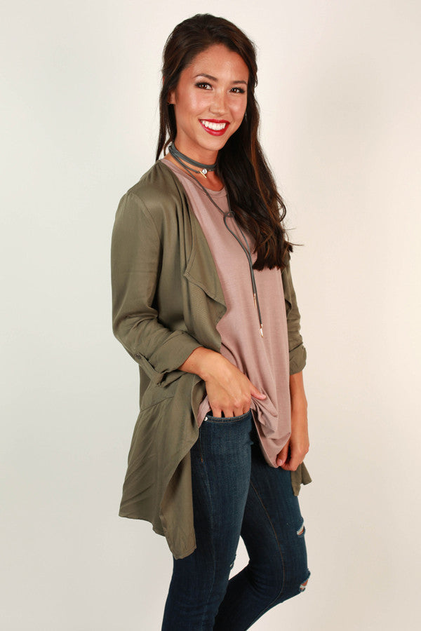 Get Down To Business Lightweight Jacket in Army Green