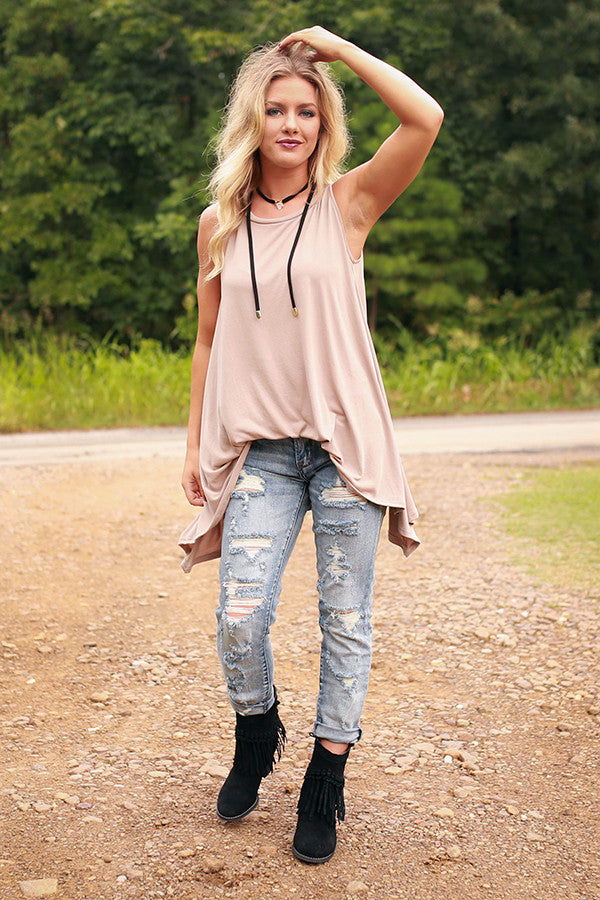 Crushing On You Tank in Warm Taupe