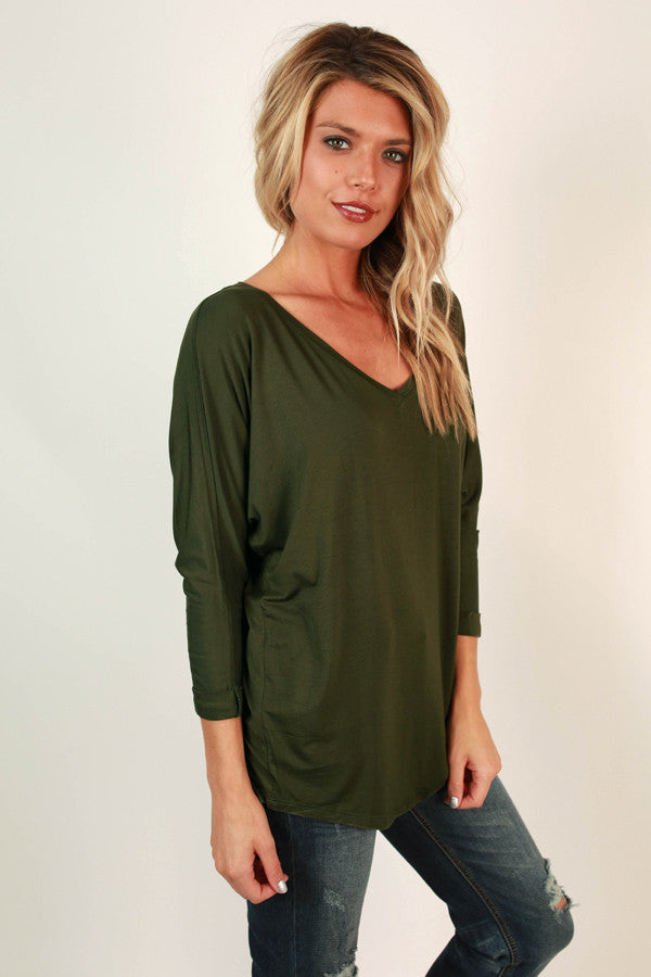 My Time Is Yours Tunic in Army Green