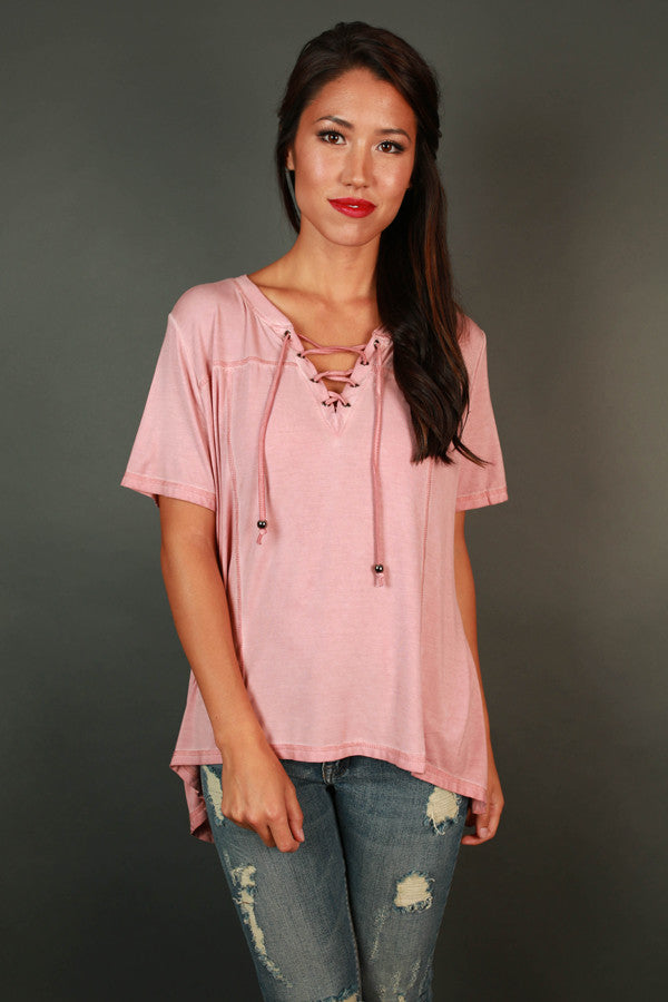 Go With The Flow Tee In Light Pink