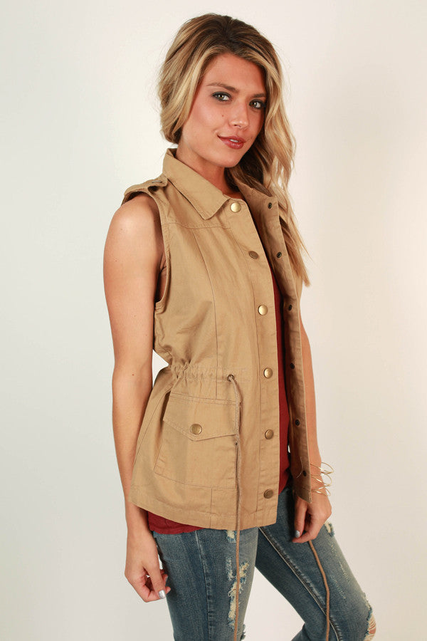 Lost In London Vest in Khaki