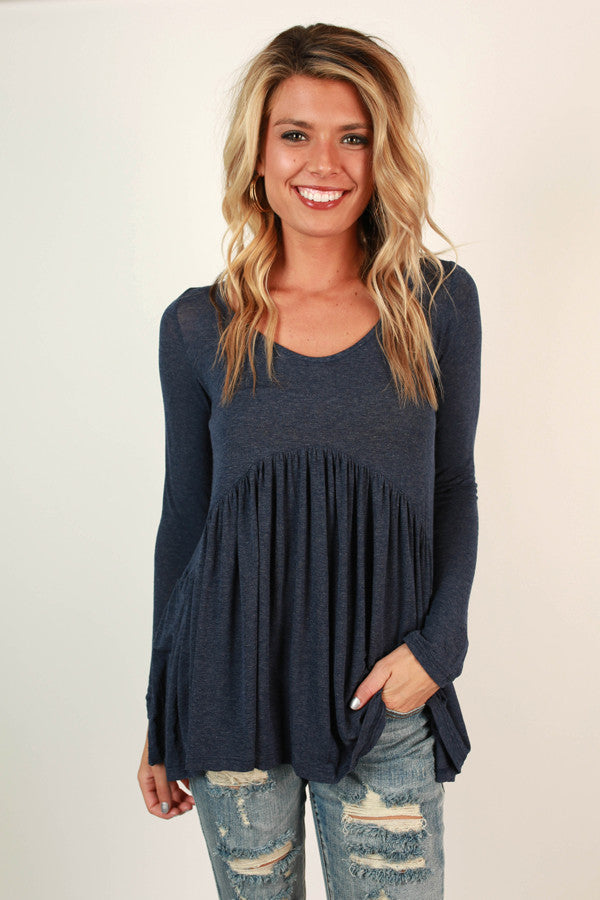 Whisk Me Away Babydoll Top in Navy