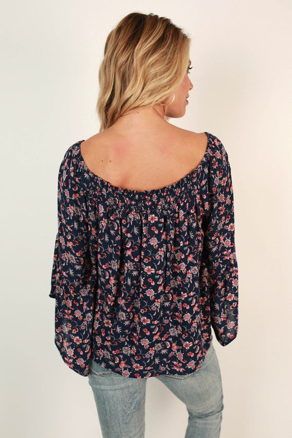 L.A Baby Floral Top in Navy
