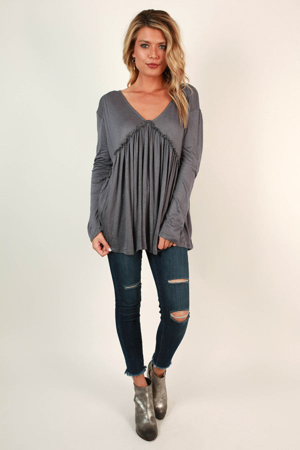 Backroad Sipping Babydoll Tee in Slate