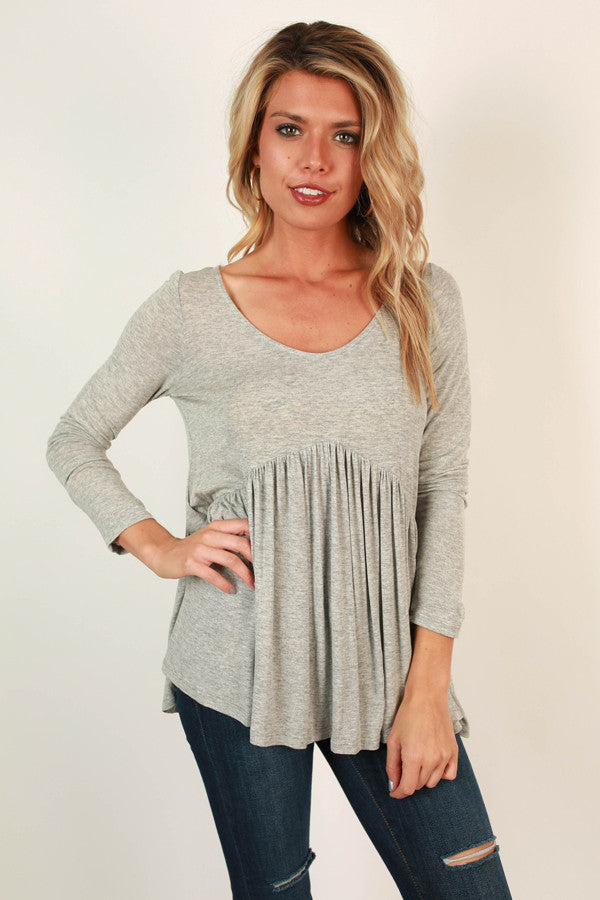 Whisk Me Away Babydoll Top in Grey