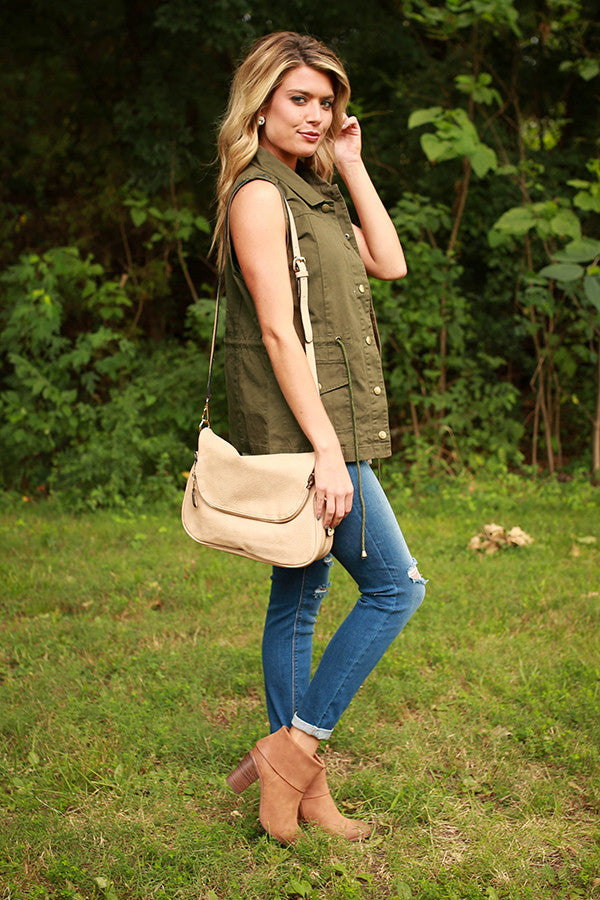 Lost in London Vest in Army Green