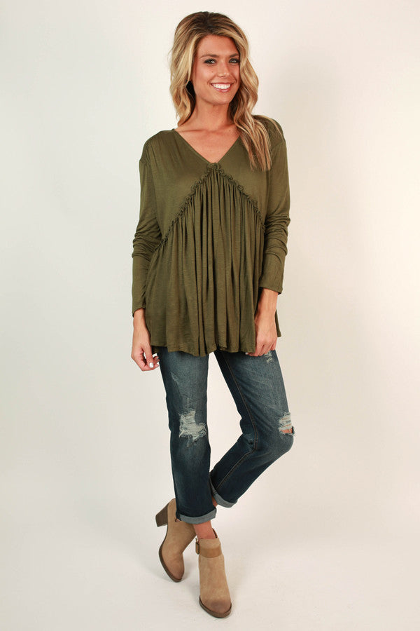 Backroad Sipping Babydoll Tee in Army Green