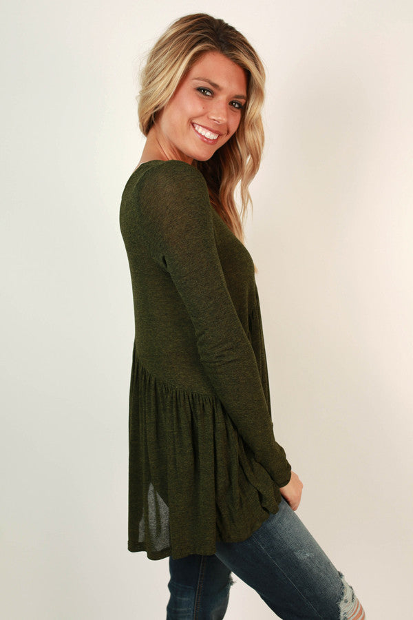 Whisk Me Away Babydoll Top in Olive
