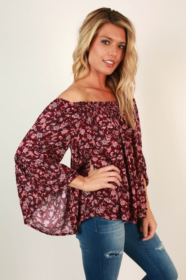 L.A Baby Floral Top in Sangria