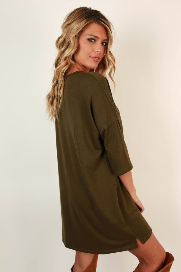 Taking Chances Shift Dress in Army Green