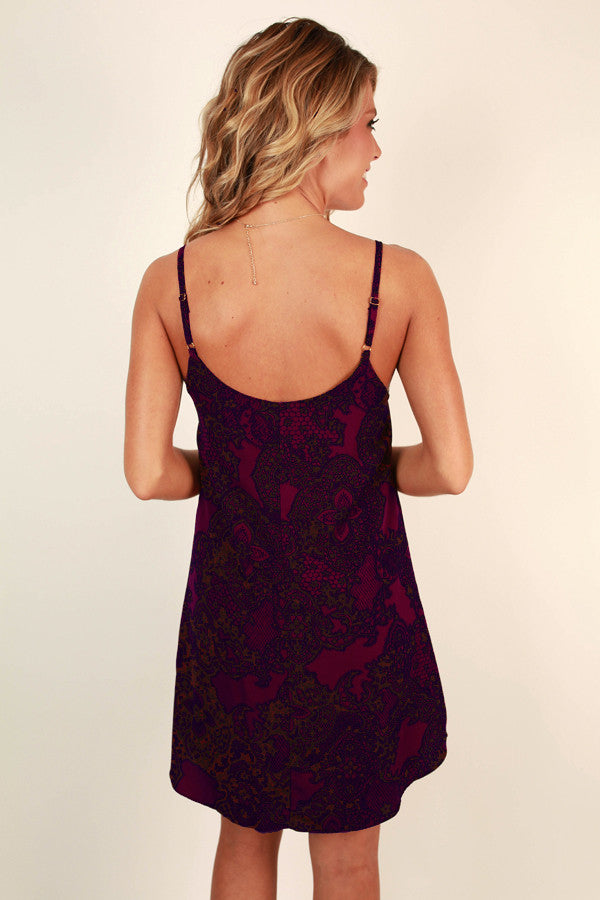 Vacation Mode Mini Dress in Windsor Wine