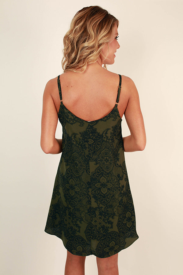 Vacation Mode Mini Dress in Army Green