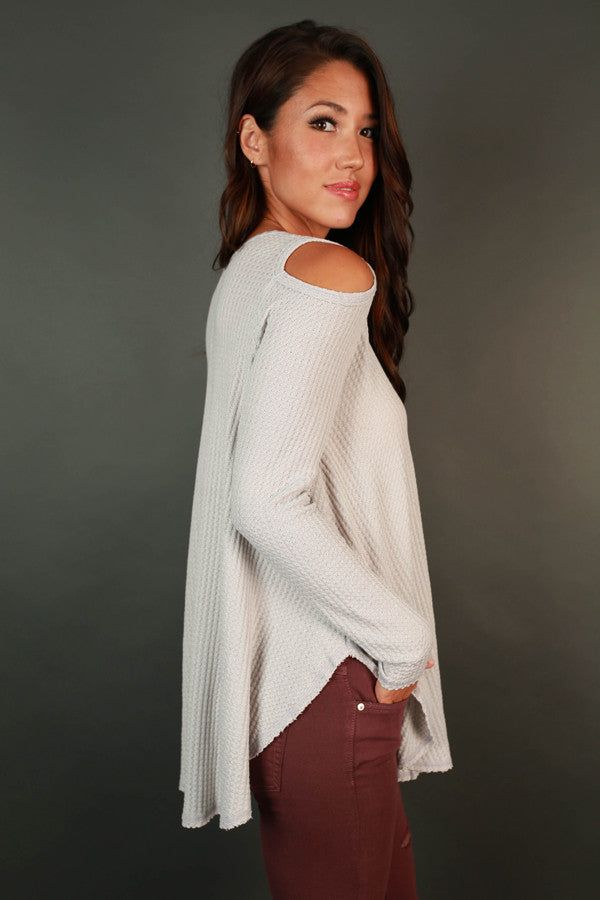 Coffee Date Cold Shoulder Top in Grey