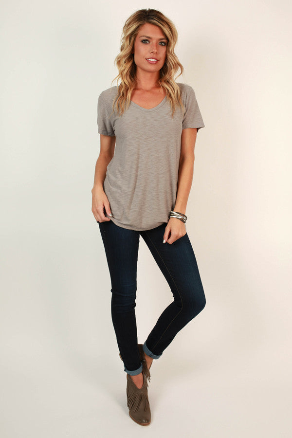 Out and About V-neck Tee in Taupe