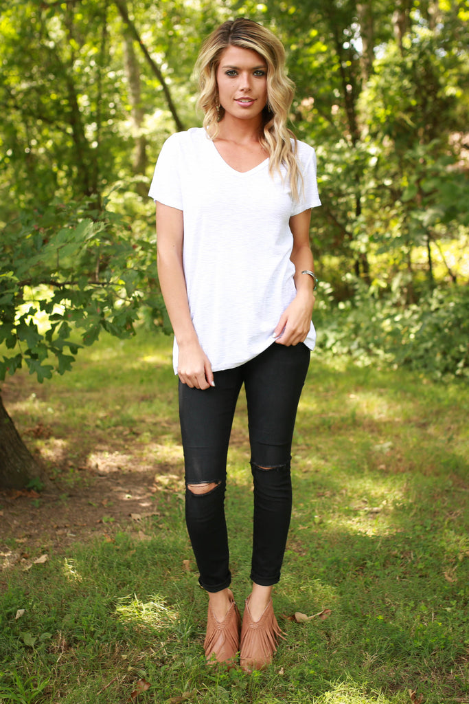 Out and About V-neck Tee in White