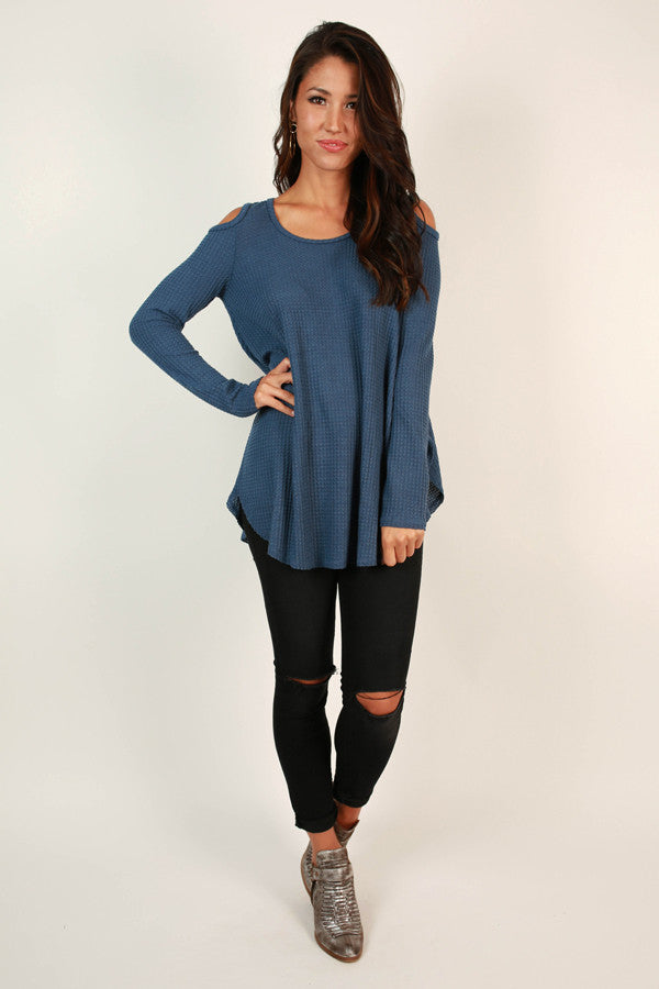 Coffee Date Cold Shoulder Top in Riverside