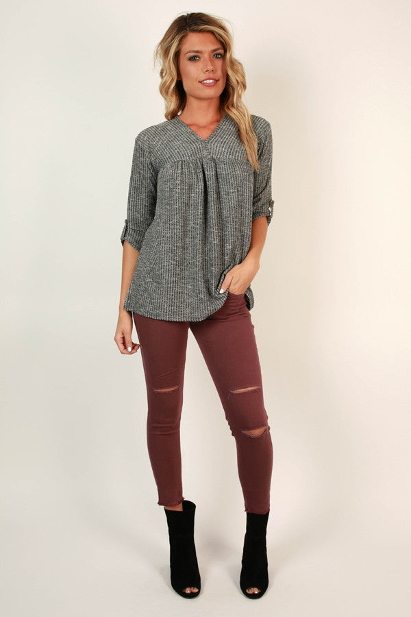 A Casual Escape Babydoll Top In Charcoal