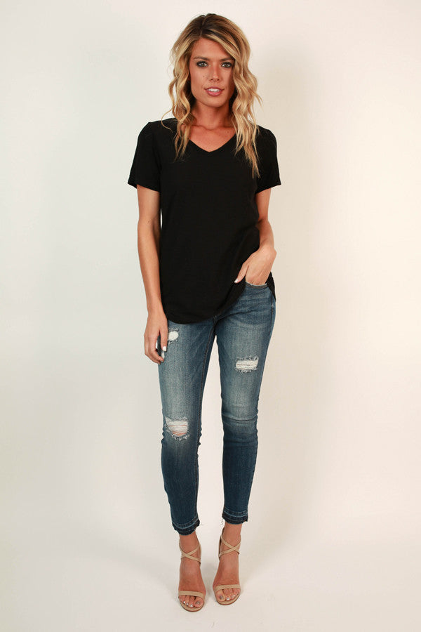 Out and About V-neck Tee in Black
