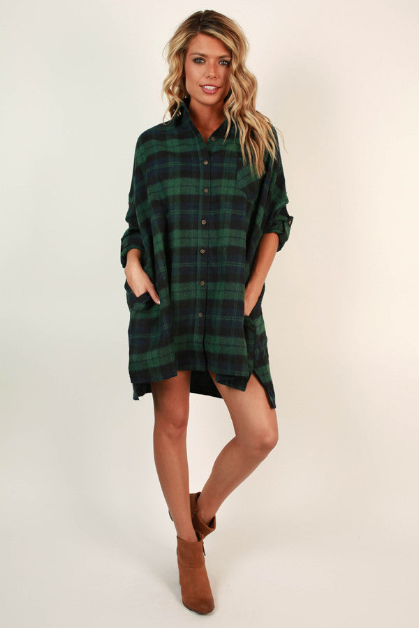 Fireside Cuddles Flannel Tunic In Green